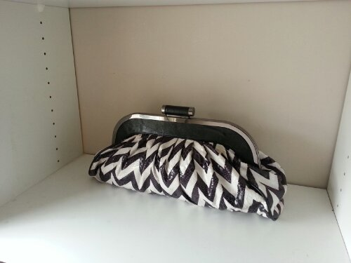 Galian brown & white zig-zag striped clutch (w/leather-in-chain shoulder strap) Cost: < $35