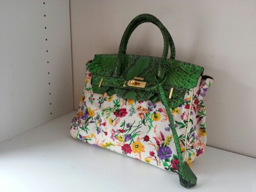 Massimo Dogana handbag, w/ green snakeskin Purchased from: Karma Consignment, Newark, N.J. Price: $200